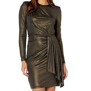 Vince Camuto   Gold Ruched Waist Dress NWT   12